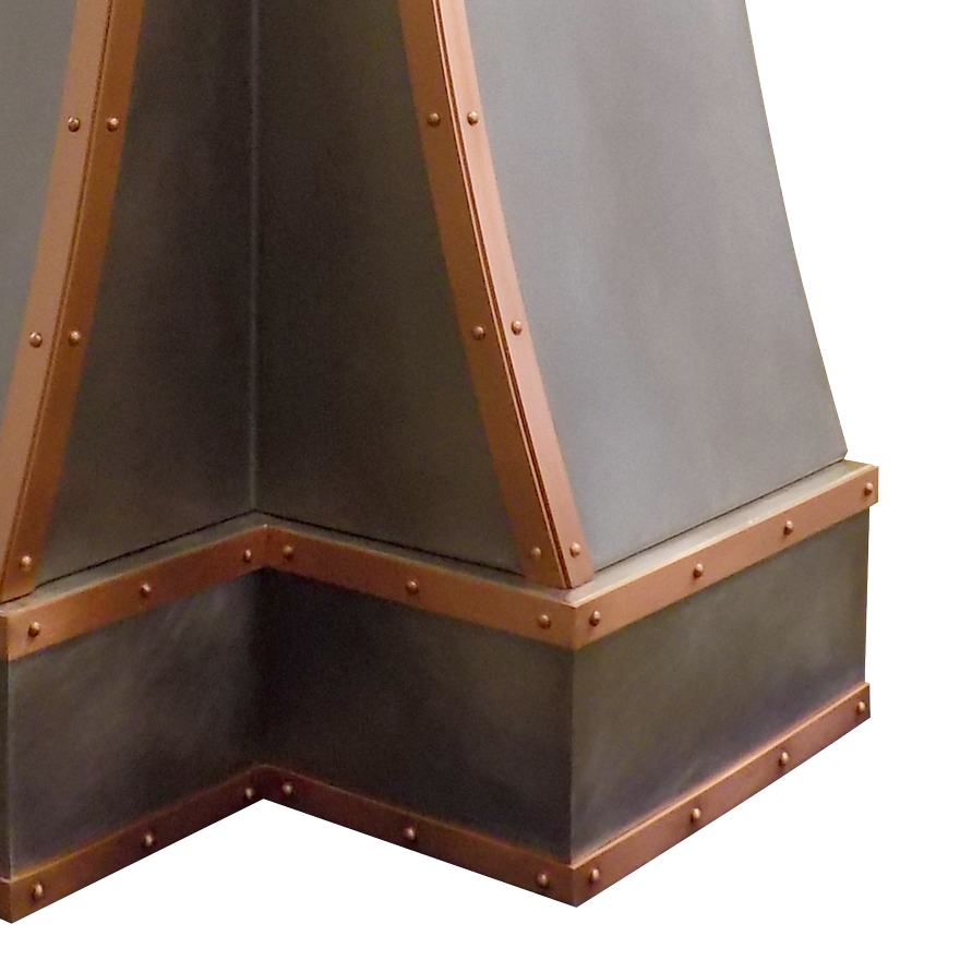 Range Hood 49B Detail, showing right section framed in smooth burnished copper strapping with decorative rivets.