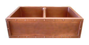 Copper Riveted Border Double Basin Farmhouse Sink