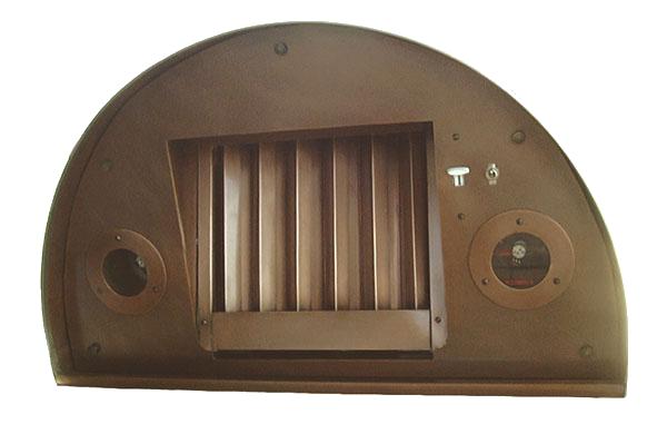 Round copper range hood insert