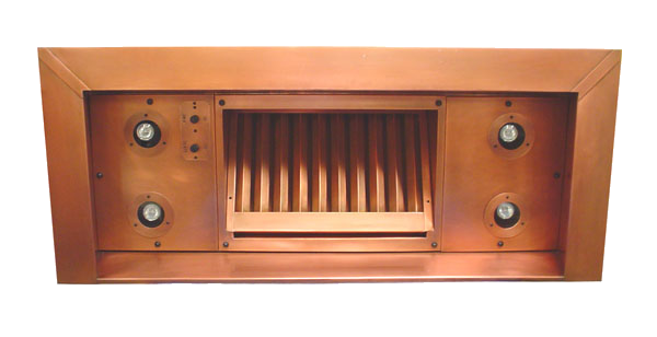 Copper range hood insert with 8 halogen lights and copper baffle filter