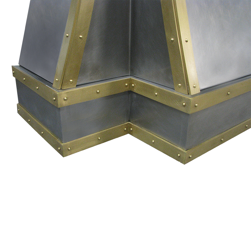 Range Hood 49A Detail, showing brass strapping above & below, with decorative rivets.