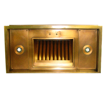 Range Hood 4J - custom liner, medium bronze, matching premiere baffle filter