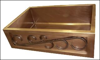Copper Single Basin Iron Scroll Apron Farmhouse Sink