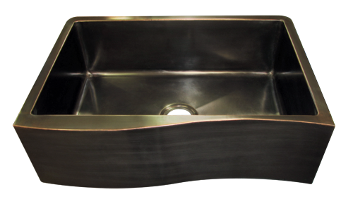 """Venetian Oil-Rubbed Bronze"" Wave Apron Front Single Basin Farmhouse Sink"