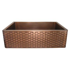 Copper Basket Weave Apron Front Single Basin