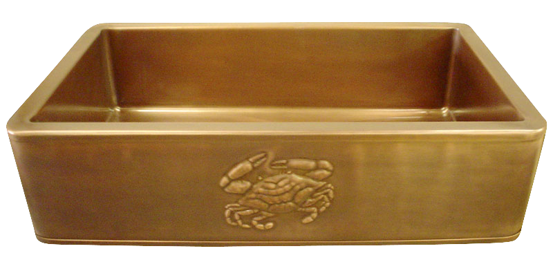 Crab Repoussé Apron Front Single Basin Farmhouse Sink