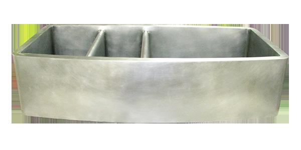 Nickel Silver Smooth Apron Triple Basin Farmhouse Sink