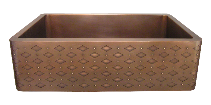 Diamond Rivet Apron Sink in medium copper