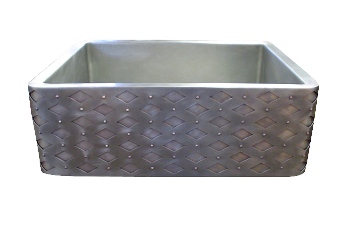 Diamond Rivet Apron Front Single Basin Nickel Silver Farmhouse Sink