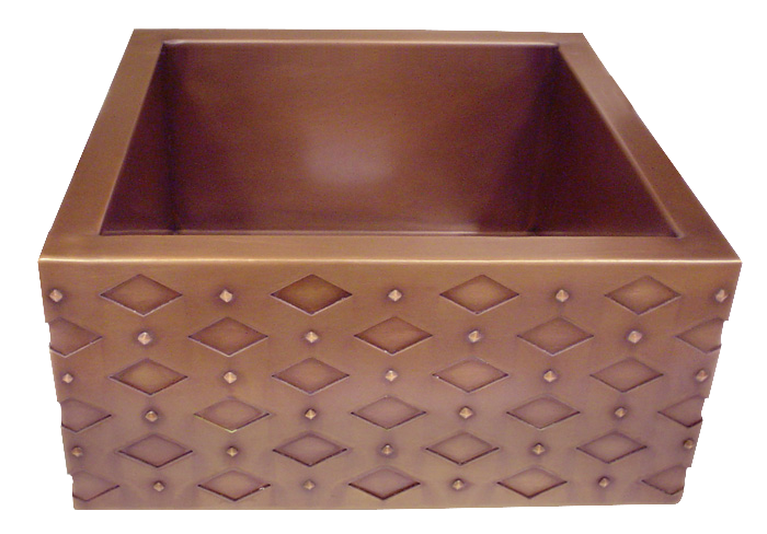 HT15 Copper Bar Sink with Diamond Apron Front