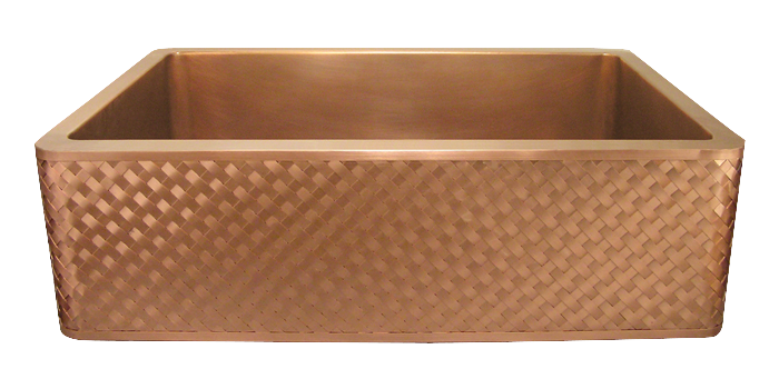 Lattice Weave Apron Farmhouse Sink in burnished copper