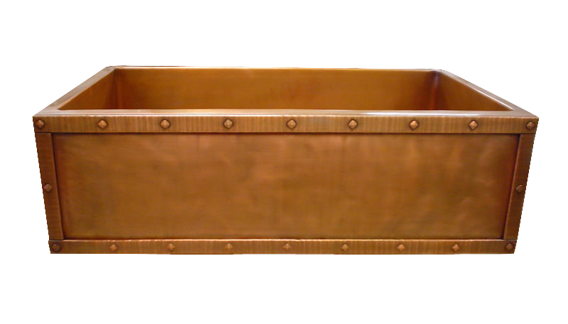 T33 Rivet Border Apron Front Single Basin Farmhouse Sink in Medium Copper