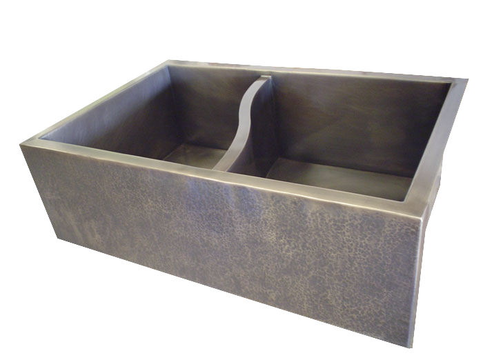 T332 Nickel Silver Double Basin Farmhouse Sink with S-divider