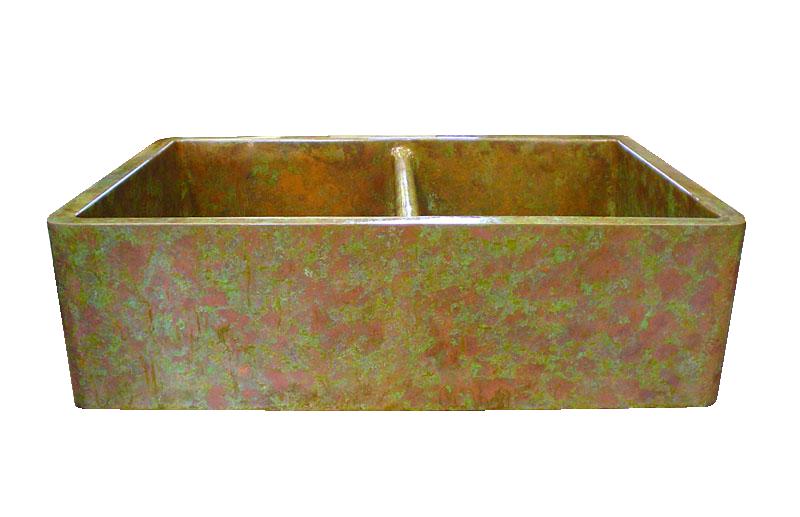 Copper Verdigris Apron Double Basin Farmhouse Sink