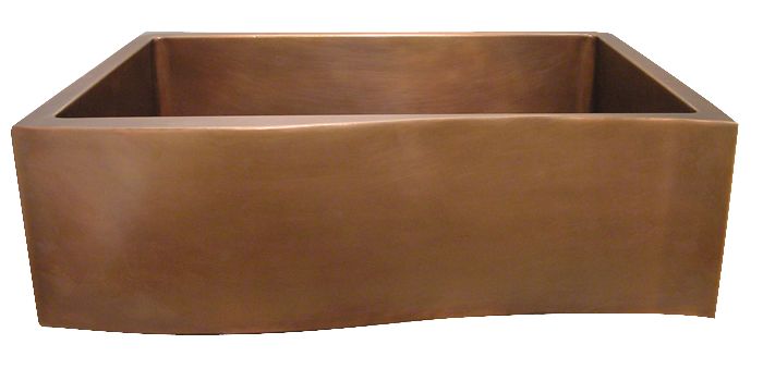 Wave Apron Front Single Basin Farmhouse Sink in Medium Copper