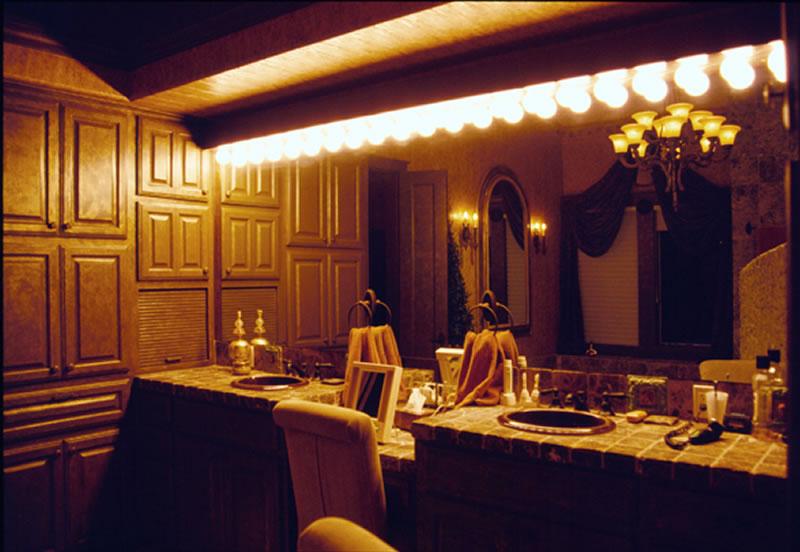 Private Residence 1 Bath: Custom bath vanity lighting.