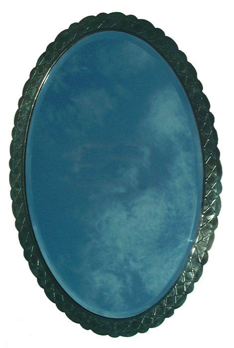Custom Black Oval Mirror Frame