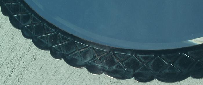 Custom Black Oval Mirror Frame - border detail