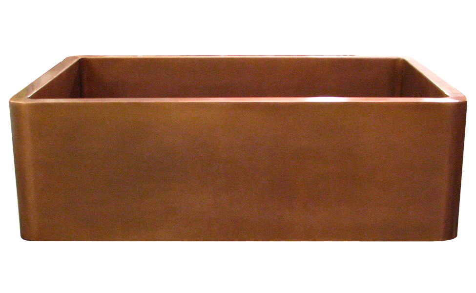 Smooth Apron Single Basin Farmhouse Sink in Medium Copper