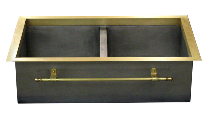 T332 Double Basin Stainless Steel Sink with Brass Flange and Brass Towel Bar