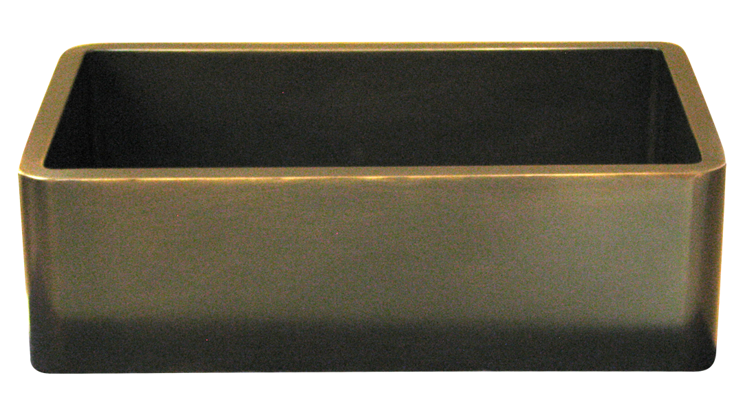 Smooth Apron Single Basin Farmhouse Sink in Dark Bronze