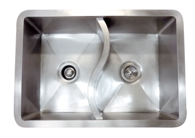 The S-sink with a 50/50 basin, in brushed stainless steel.