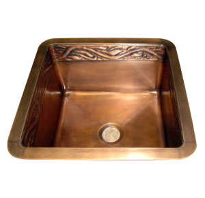 custom copper inner repoussé sink