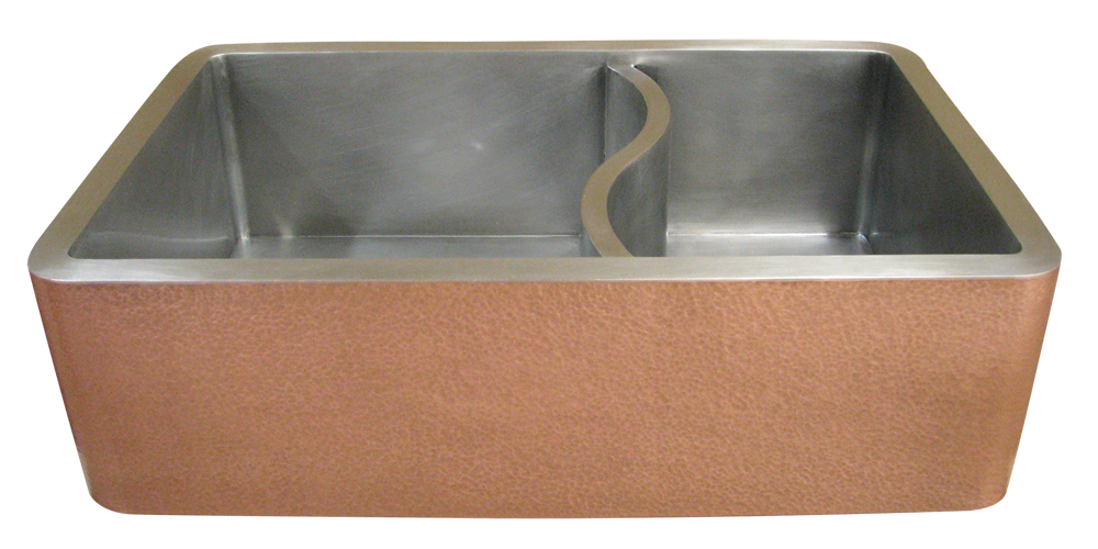 Copper/Stainless Steel Double Basin Farmhouse Sink with S-divider