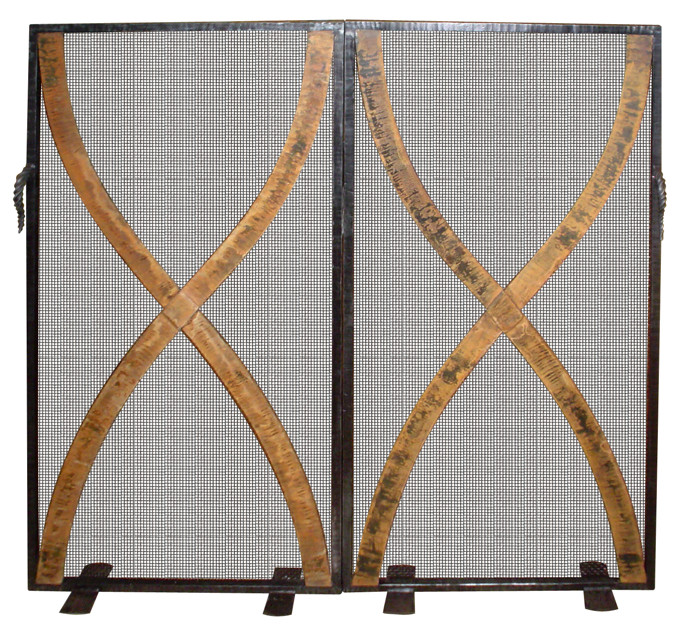 Fire Screen #10: forged steel and steel mesh with rusted hammered steel strapping design.