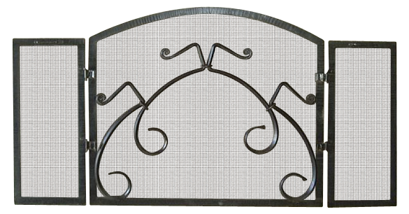 Fireplace Screen #4: Hand-forged wrought iron. Custom screen design.