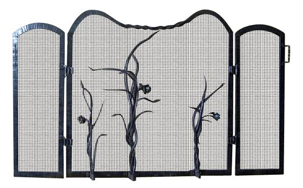 Fireplace Screen #5: Hand-forged wrought iron; steel mesh, hammered border, and wrought iron roses.