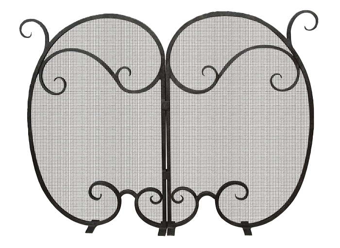 Custom fireplace screen wrought iron scroll design.