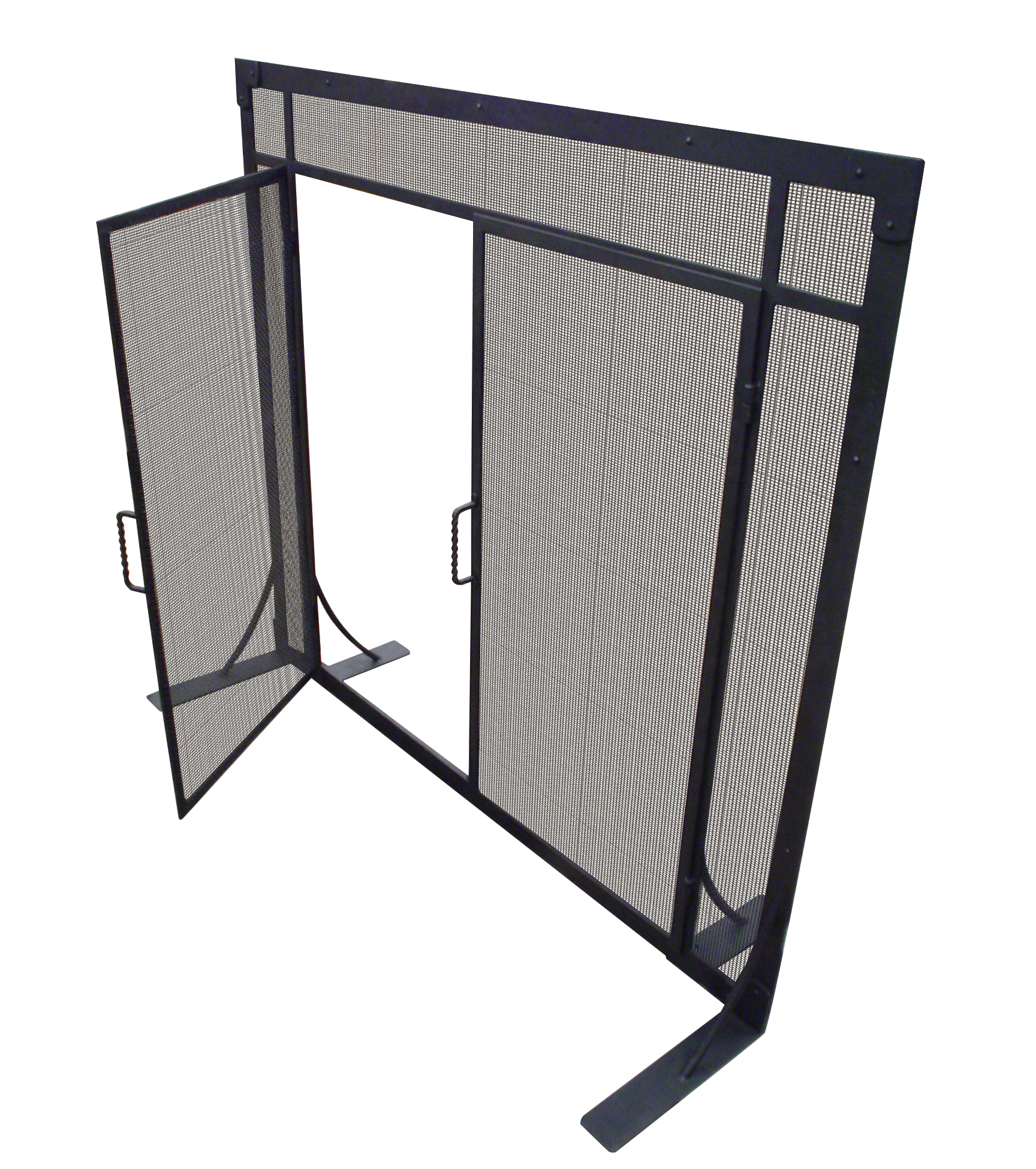 Fireplace Screen #9: This hand forged steel fireplace screen has latch doors and woven steel mesh.