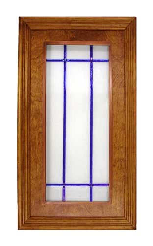 Glass Kitchen Cabinet Panel CPG1: Fused whitewater with cobalt blue