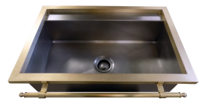 Constantine IV Sink in stainless steel with Flange and Brass Towel Bar