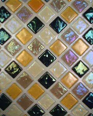 Fused glass tile pattern