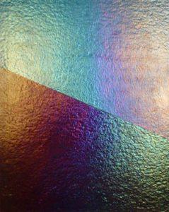 Fused iridescent glass