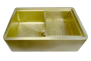 Brass San Marcos apron Sink with custom colander