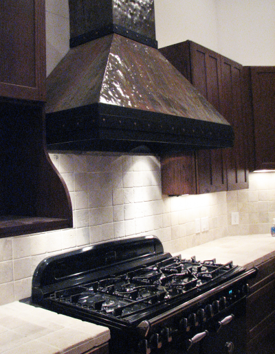 Range Hood 7C in a custom fire finish.