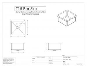 15 in Bar Sink Shop Drawing