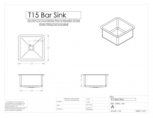 15 in Bar Sink Shop Drawing