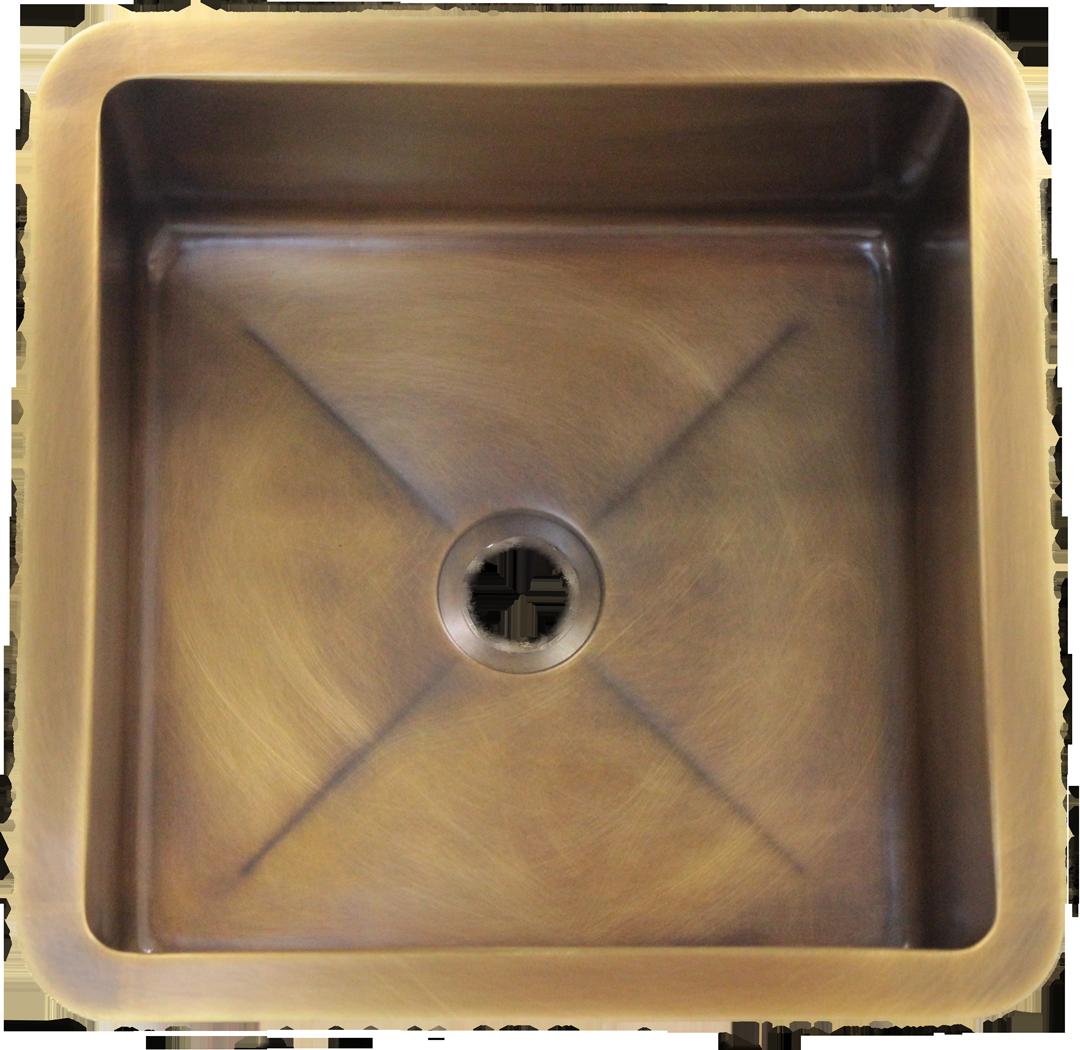 T15 Medium Brass Sink with 2 in drain