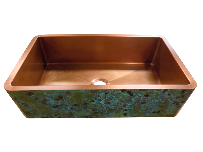 Custom Verdigris Apron Copper Sink