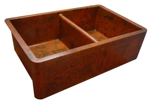 Orange Verdigris Double Sink