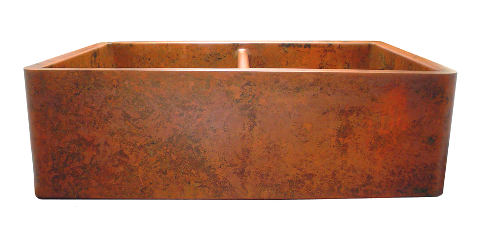 Orange Verdigris Double Sink