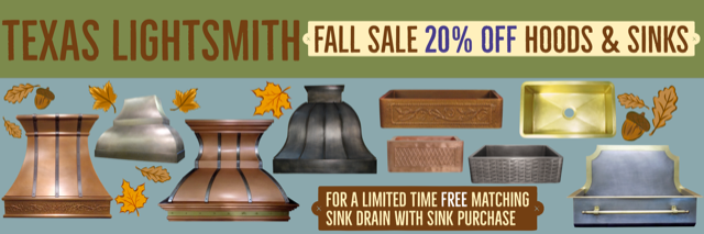 Fall Sale! 20% Off Hoods & Sinks