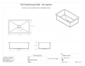 T33 BNA BurBrass Sink Spec Drawing