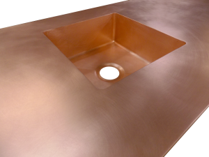 Custom Copper Counter top with integrated sink;