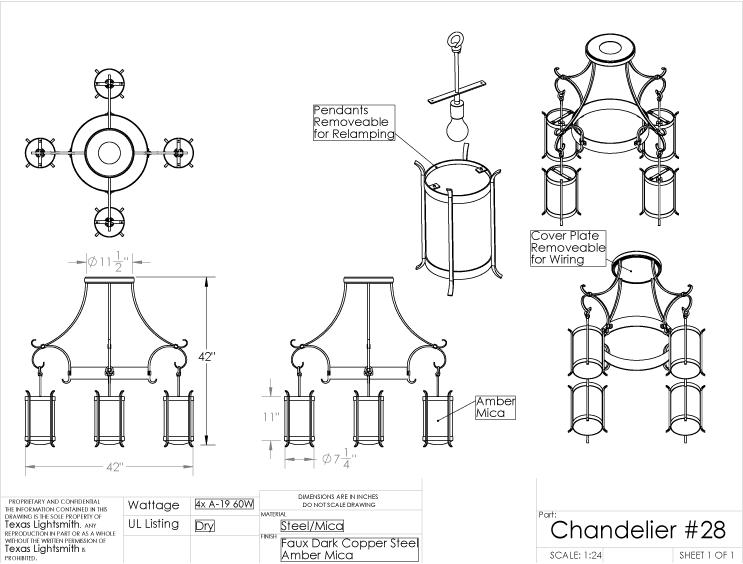 Custom Chandelier #28 spec drawing