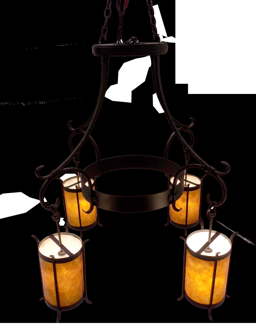 Custom Chandelier #28; Dark Copper; amber mica diffusers; 4 x 120V A19 bulbs